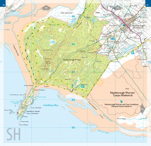 OS map book - 1:25,000 scale - Isle of Anglesey. Map spread showing Llanddwyn Island, Newborough Forest and the Wales Coast Path