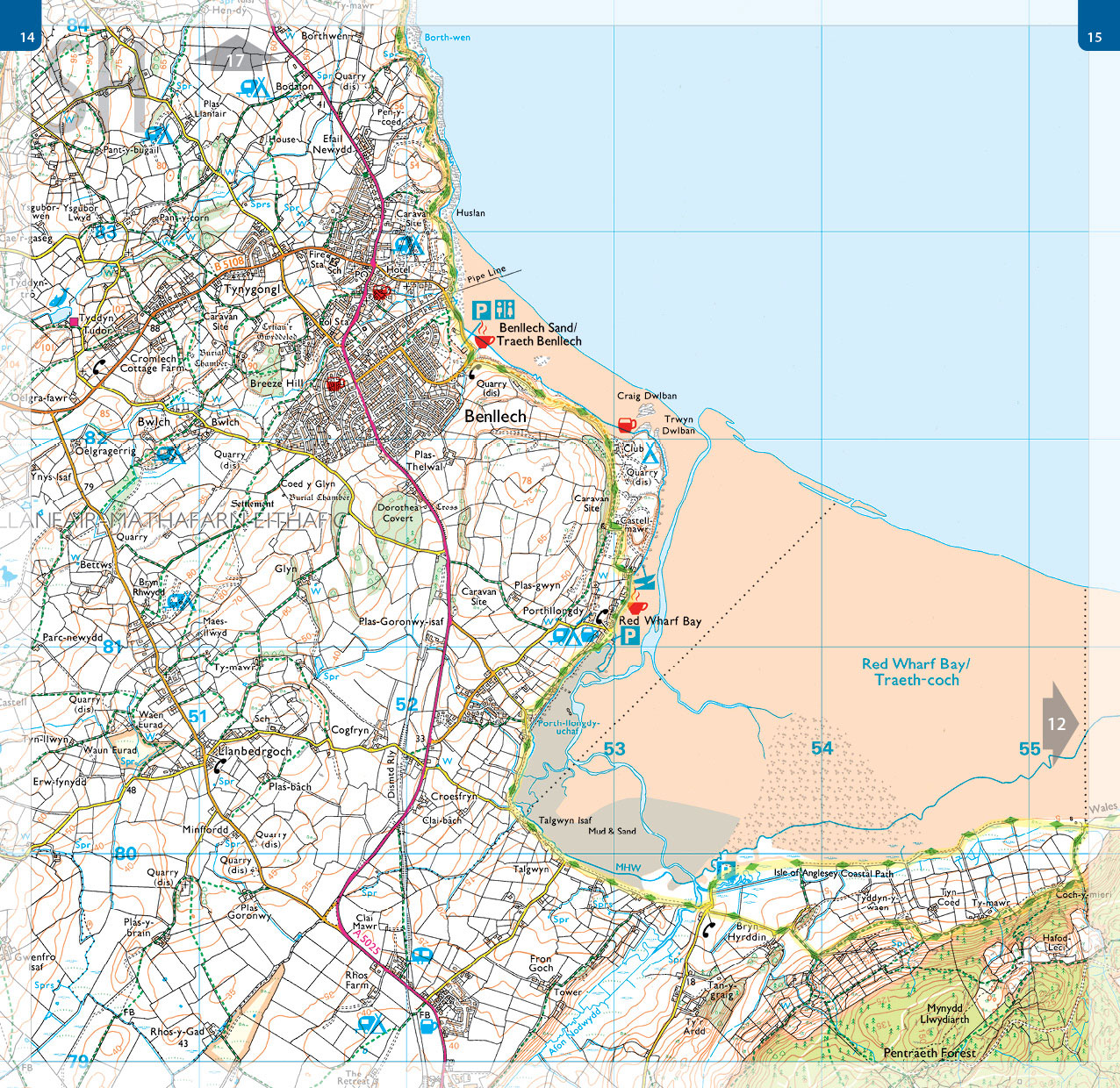 OS map book - 1:25,000 scale - Isle of Anglesey. Map spread showing Benllech and the Wales Coast Path