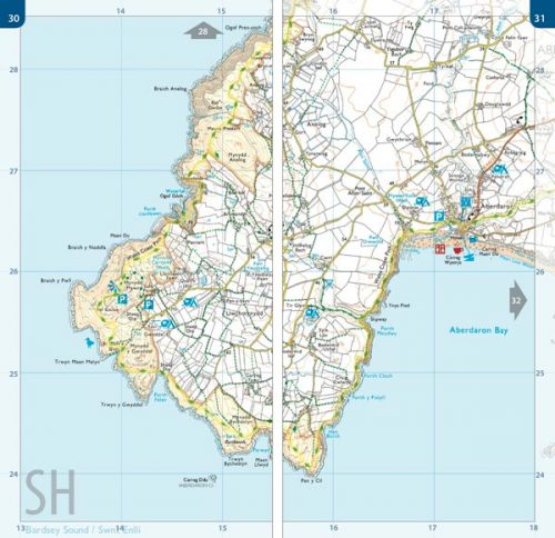Large scale 1:25,000 Ordnance Survey mapping for the Llyn Peninsula section of the Wales Coast Path in a book atlas format