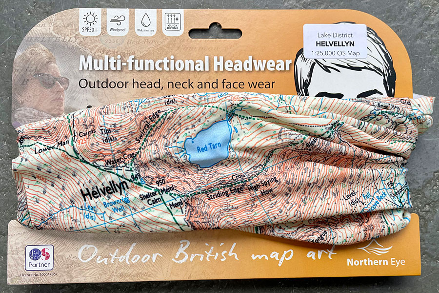 Helvellyn snood/neck gaiter/neck warmer/bandana - modern OS 1:25,000 mapping