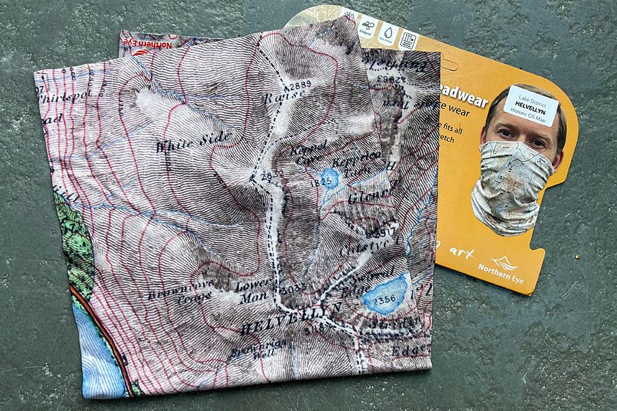 Helvellyn snood/neck gaiter/neck warmer/bandana - old map 1912 - display