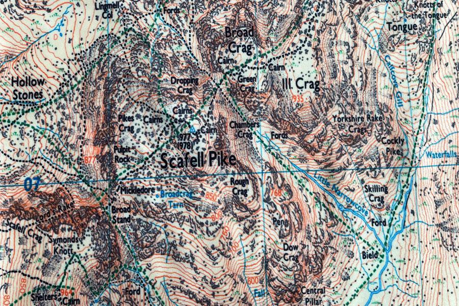 Scafell map neck gaiter, neck warmer, snood - detail