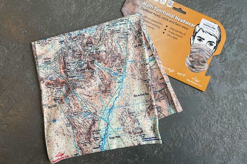Scafell 1:25,000 OS map neck gaiter, neck warmer, snood -- detail with display card