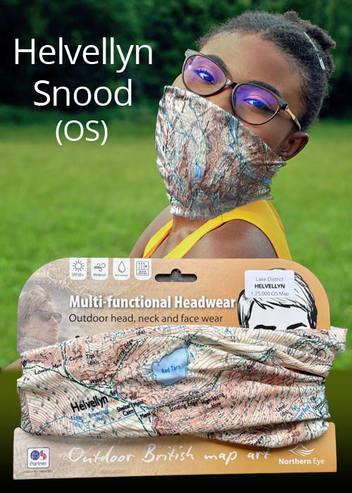 Helvellyn modern snood/neck gaiter/face mask/neck warmer/bandana - Ordnance Survey (OS) mapping 1:25,000 scale