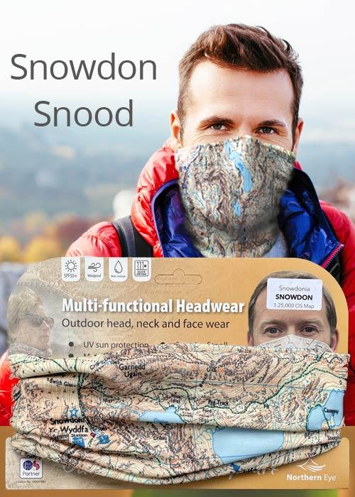 Snowdon snood/neck gaiter/face mask/neck warmer/bandana - Ordnance Survey (OS) mapping 1:25,000 scale