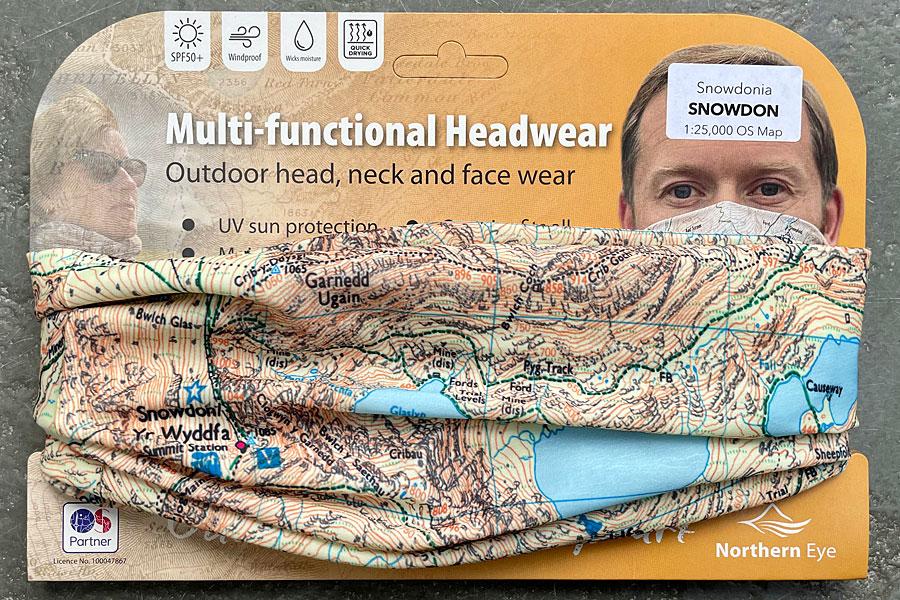 Snowdon snood/neck gaiter/neck warmer/bandana - modern OS 1:25,000 mapping